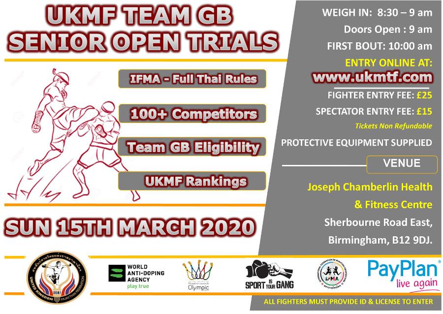 Team GB Senior Open Trials 15th March 2020
